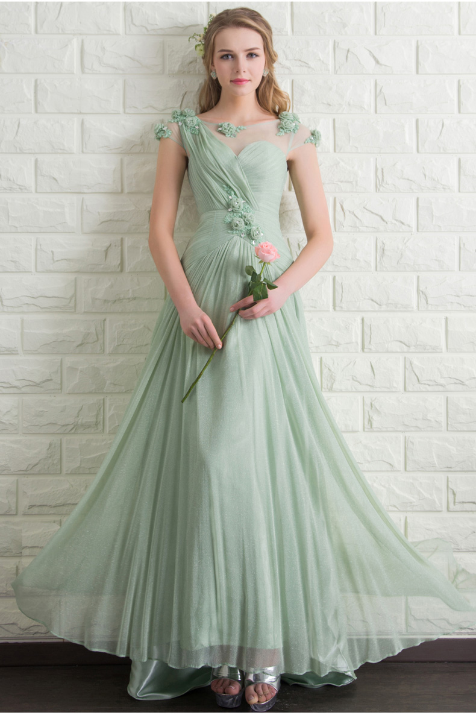 Elegant Cocktail Dresses Sage Green Color Pink Vestidos De Festa Long Scoop Neck A-line Party Gowns CC171