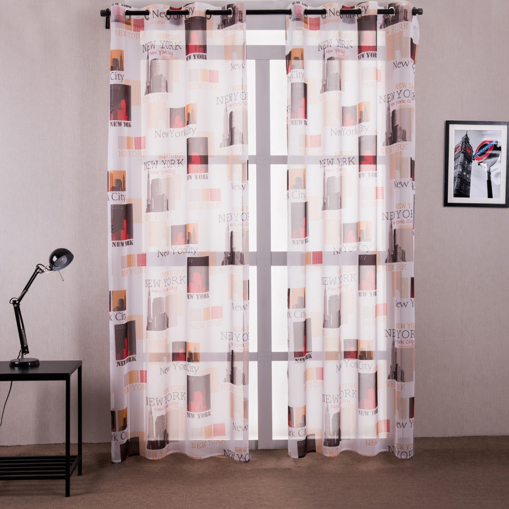 Flat panel curtains - New American Style Warm Sweet Color Kid Curtains For Kitchen Printed New York View Window Tulle