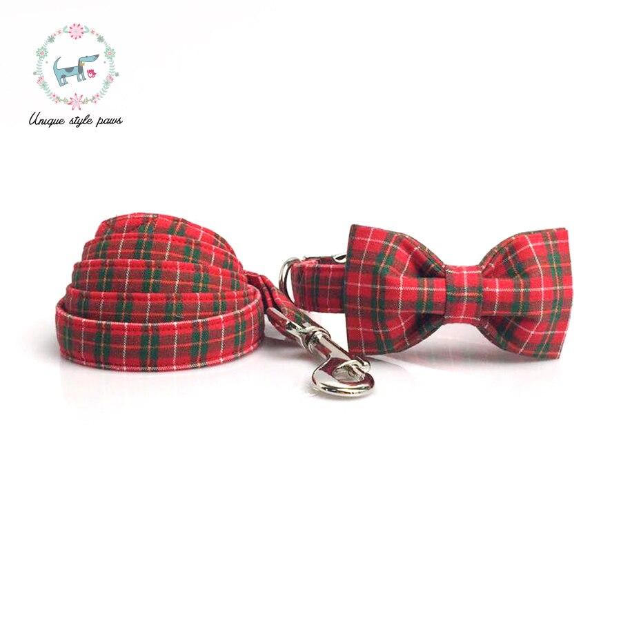 Collar de perro con pajarita Navidad Plaid rojo hebilla de Metal grande y pequeño perro Collar gato Collar y Collar de perro Correa conjunto de accesorios para mascotas