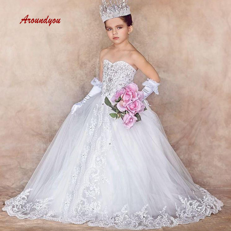 White Luxury   Flower     Girl     Dress   for Party and Weddings Lace Pageant First Holy Communion   Girls     Dress   for   Girls   Gown 2019