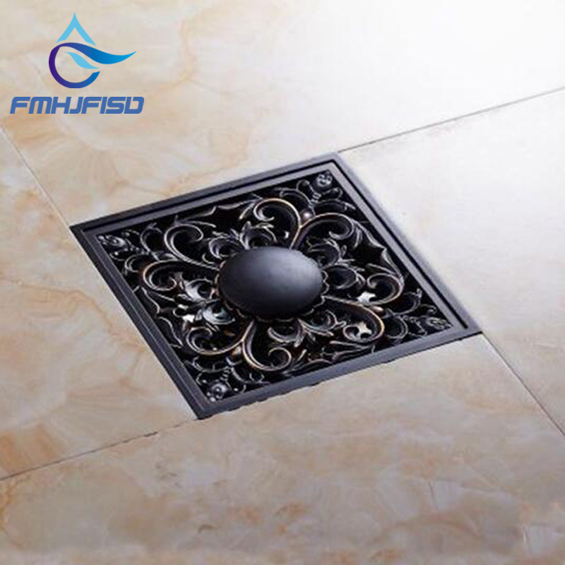 Oil Rubbed Bronze Bathroom Solid Brass Floor Drain Square Grate Waste Drainer free shipping bathroom shower floor drain oil rubbed bronze grate waste drain lucky finishes