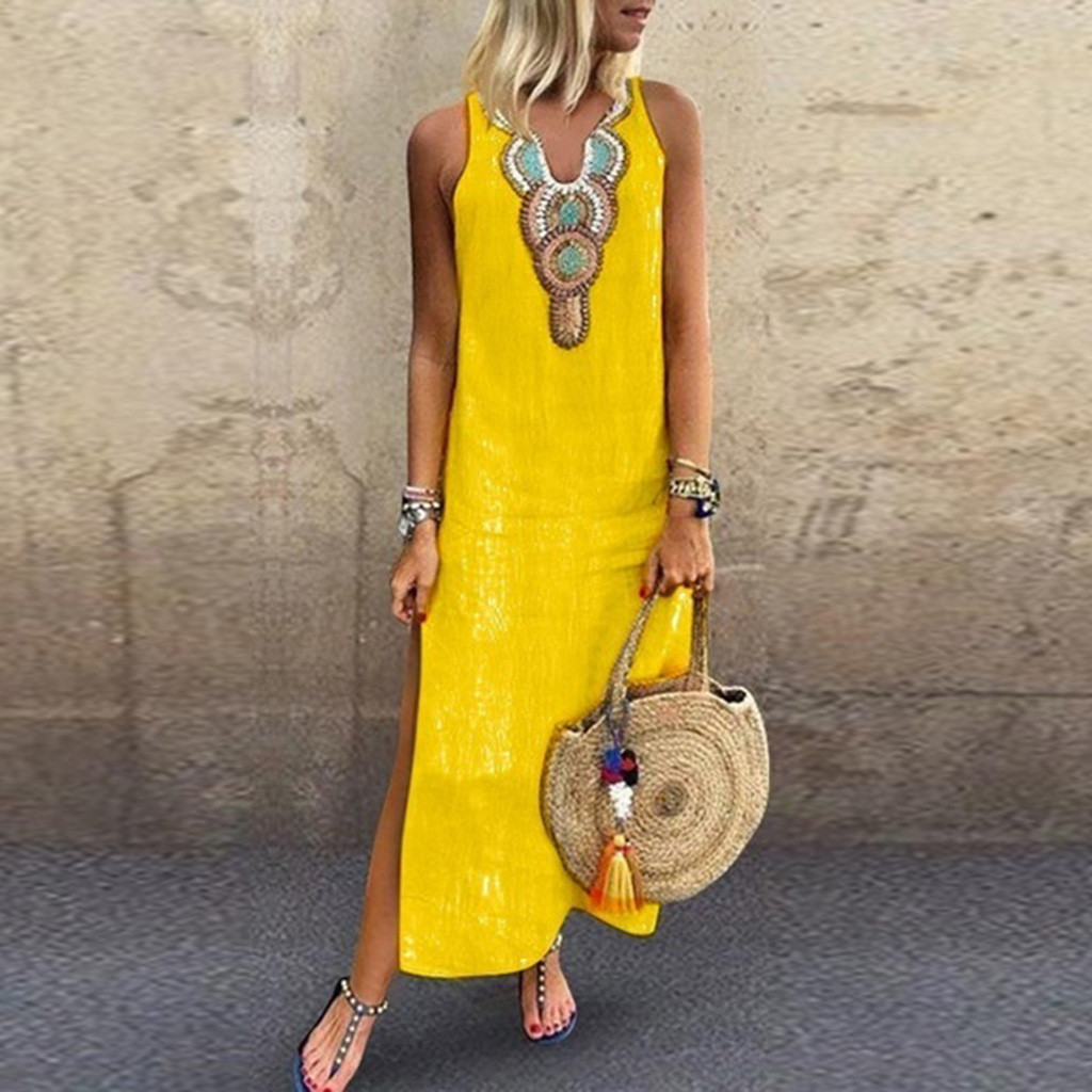 Women s Printed Sleeveless V neck Maxi Dress Split Hem Baggy Kaftan Long Dress