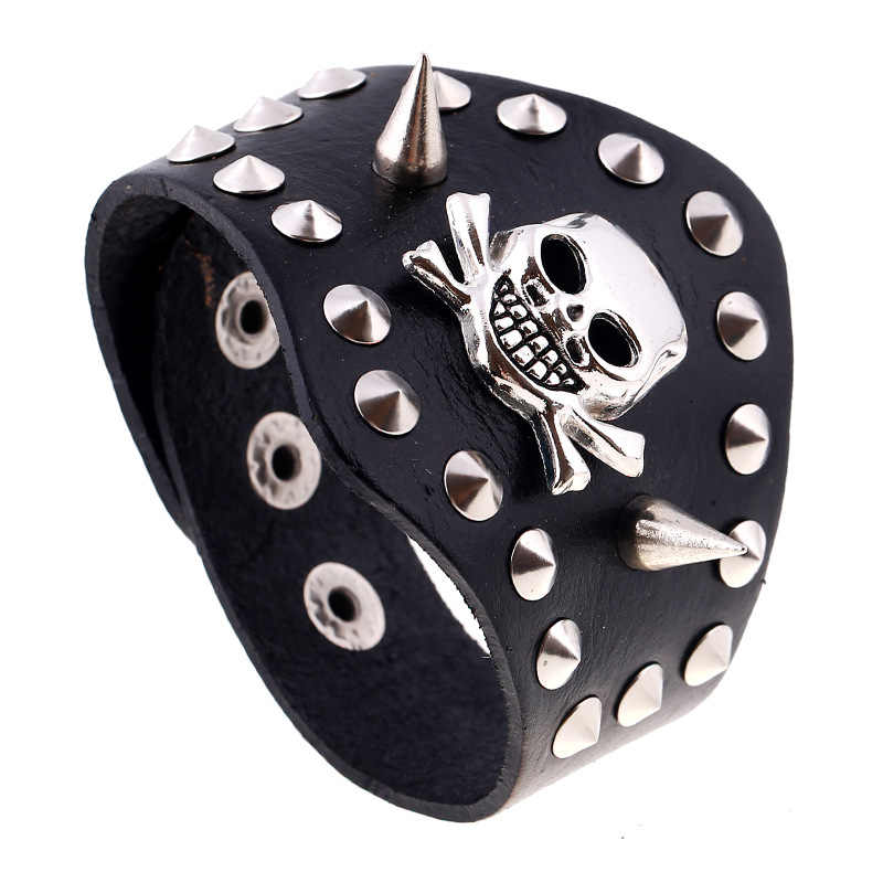 Punk Rivet Skull Cow Leather Bangle Exaggerated Genuine Leather Jewelry Charm Wrap Halloween Bracelets For Men Women