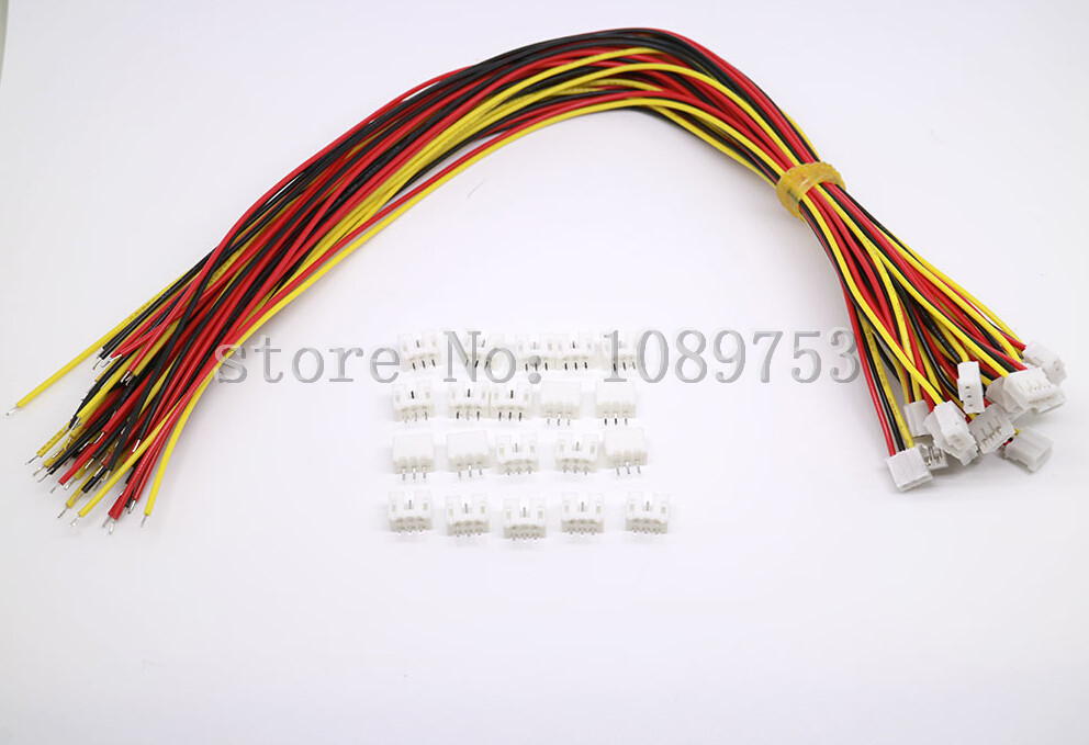 50 SETS Mini Micro JST 2.0 PH 3-Pin Connector plug with Wires Cables 100MM