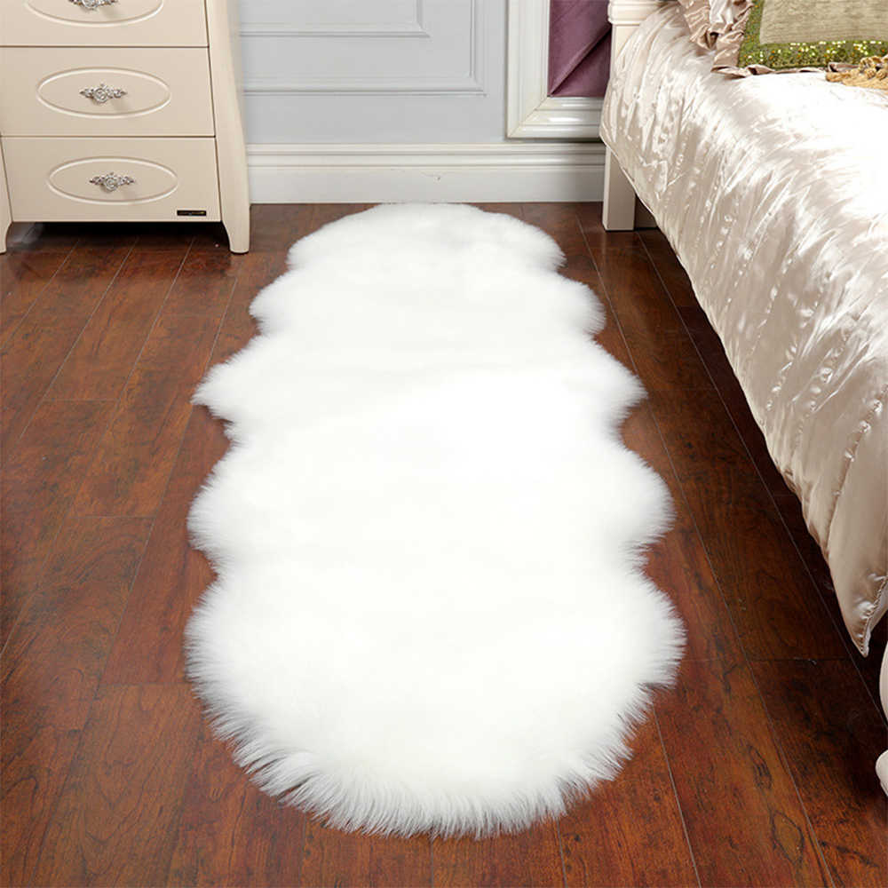 Sheepskin Faux Fur Carpets Rugs For Home Bedroom Kids Living Room Chair Warm High Quality Non-slip White Gray