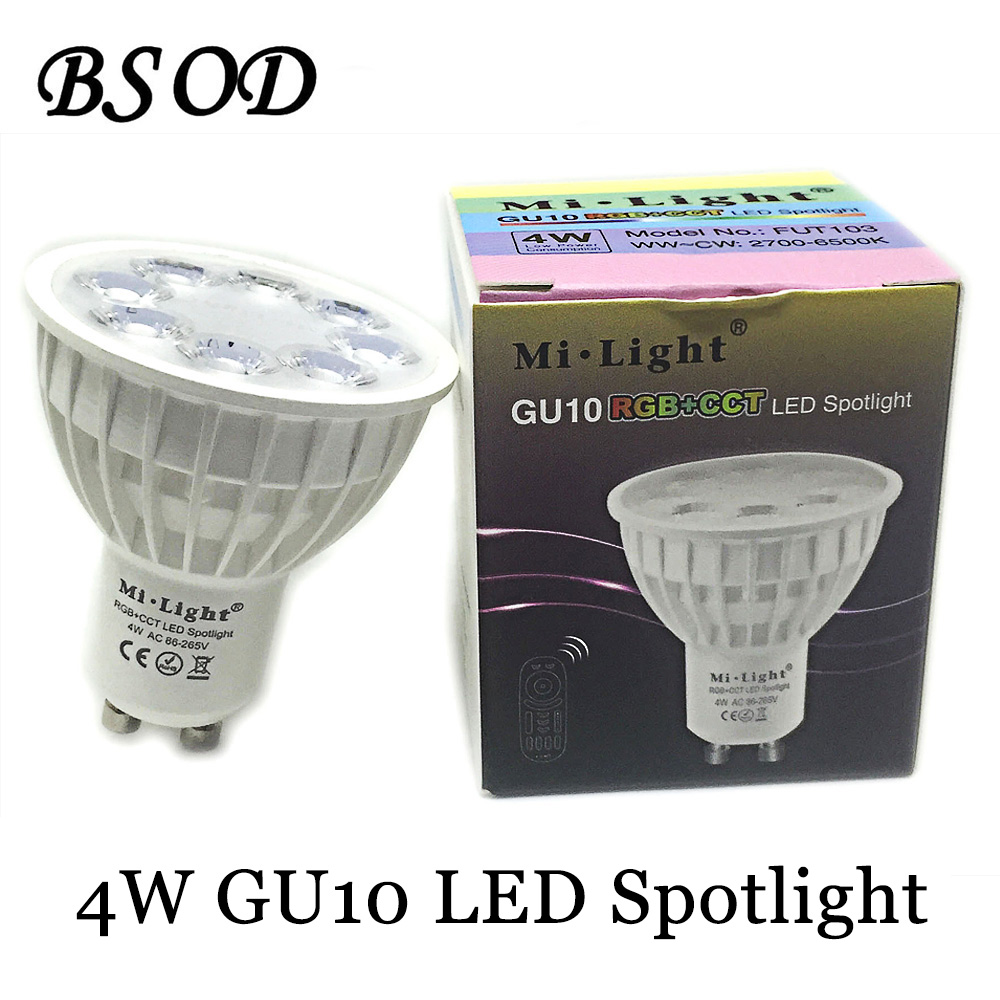 BSOD  Gu10 LED Spotlight Milight Bulb Lamp FUT 103 RGB+CCT AC86-265V 2.4G Wireless Dimmable Remote Controller  dc12v 2 4g wireless milight dimmable led bulb 4w mr16 rgb cct led spotlight smart led lamp home decoration