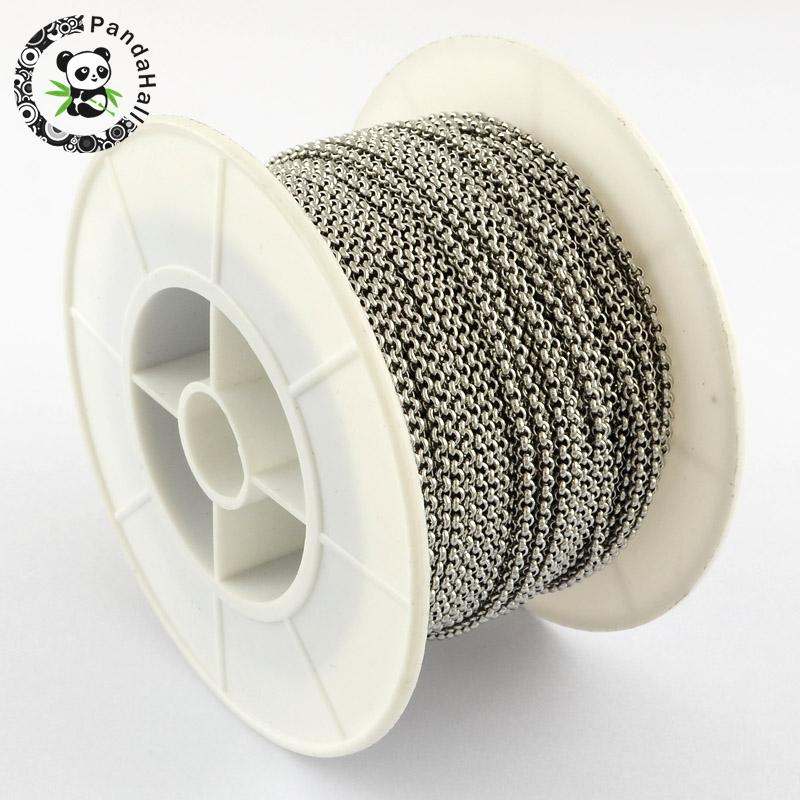 Unwelded 304 Stainless Steel Cross Rolo Chains Metal Jewelry Findings Stainless Steel Color, 2x0.8mm; about 25m/roll