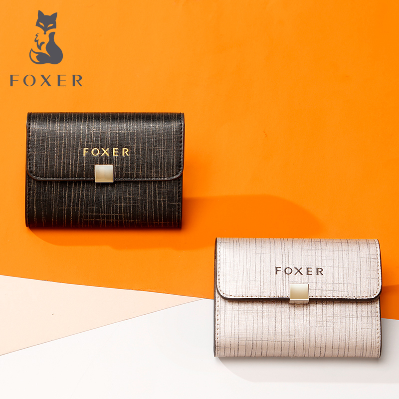 FOXER Female Purse Coin-Pocket Mini Wallets Women Card-Holder Short-Style Brand Gift