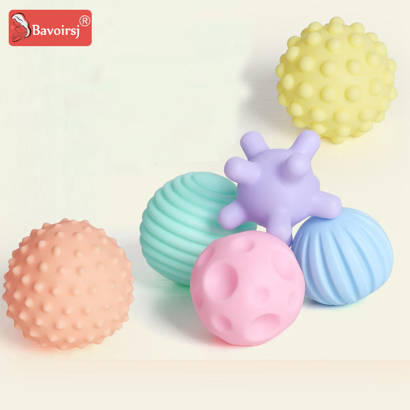6pc/lot Toddler Toys Soft Teether Balls For Kids Teether Toy Bath Crib Rattle Baby Toys Montessori Games T0378