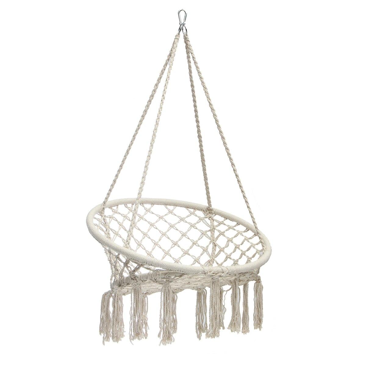 Style nordique hamac rond extérieur intérieur dortoir chambre chaise suspendue pour enfant adulte balançoire unique sécurité hamac blanc