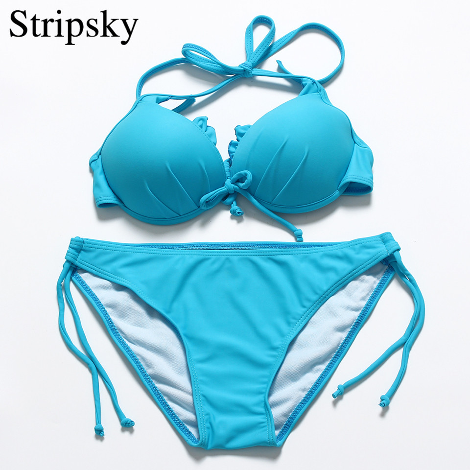 Stripsky Sexy Women Brazilian Swimsuit Halter Bikini Bandage Swimwear Hot Push Up Bikini Set Solid Bathing Suit Lady Swim Suit