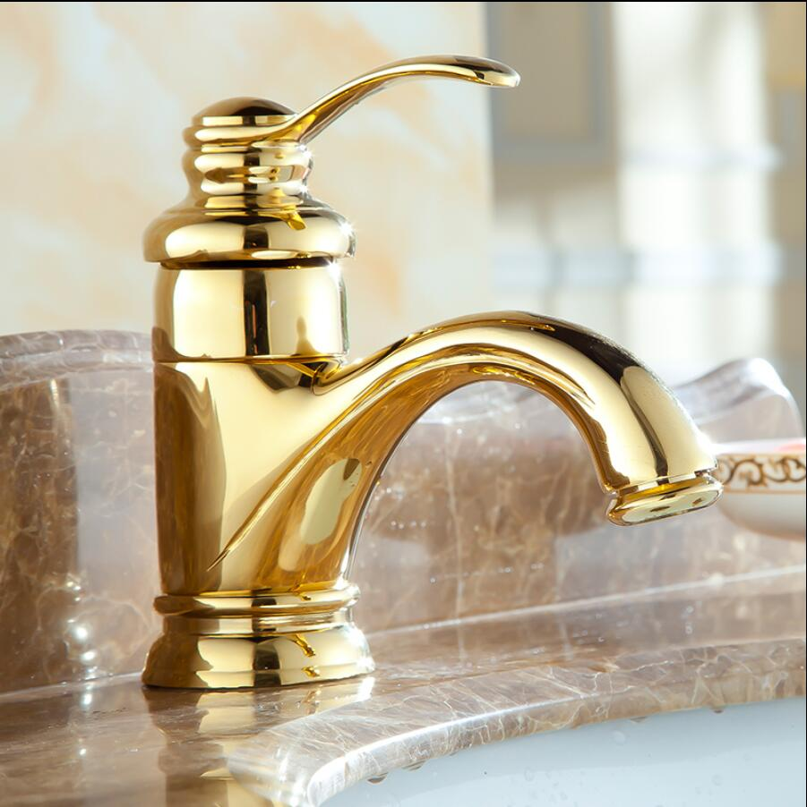 Basin Faucet Gold/Antique bronze Wash basin Faucet Luxury Bathroom Basin Taps Single Handle Vanity Single Hole Mixer Water Taps-in Basin Faucets from ...
