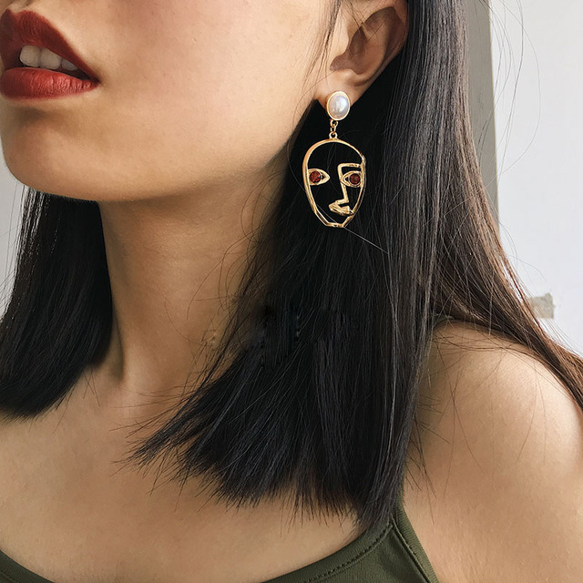 2017 New Trend Fashion Jewelry Gold Filled Funny Face Statement Earrings For Women Crystal Dangle Earrings Bijoux
