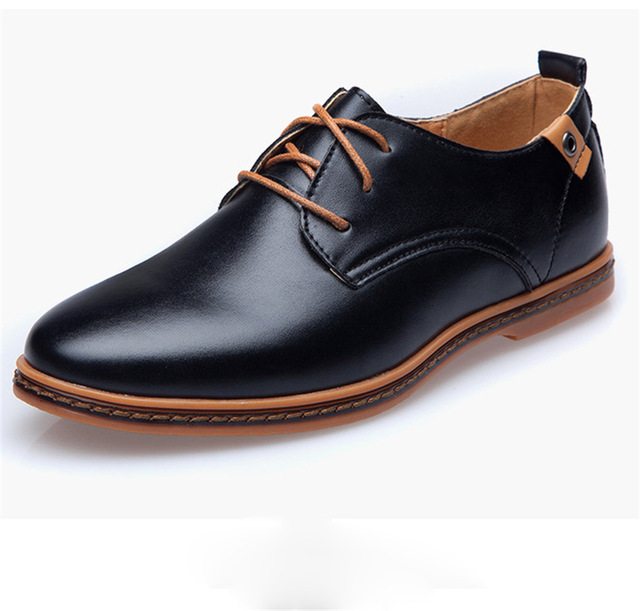 Big Size British Casual Business Shoes PU Leather Casual Men Shoes Black and Brown Color Lace Shoes