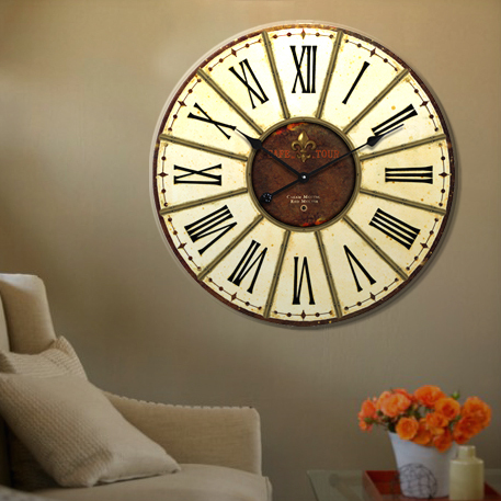 Fashion European antique home frameless interior large wood wall watch hanging hour home decor flip down clock 34cm and 60cm