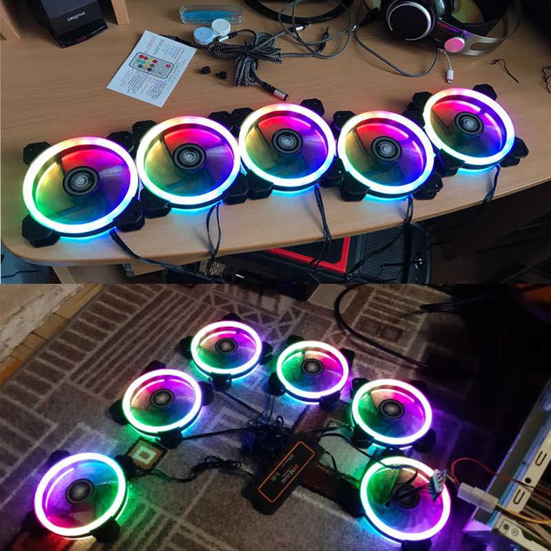 DarkFlash Aigo DR12 พัดลมคอมพิวเตอร์ PC Cooling พัดลม RGB ปรับ LED 120 มม.เงียบ + IR REMOTE Cooler พัดลม CPU GAMING Case