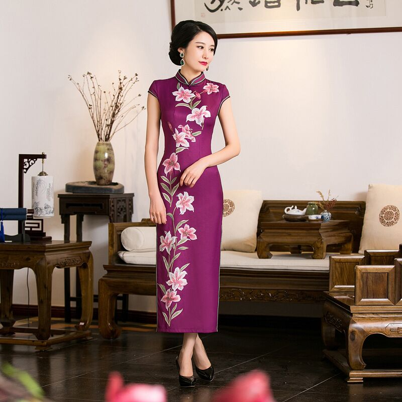New Arrival Satin Long Cheongsam Fashion Chinese Style Women's Dress Elegant Qipao Vestidos Size S M L XL XXL 216048