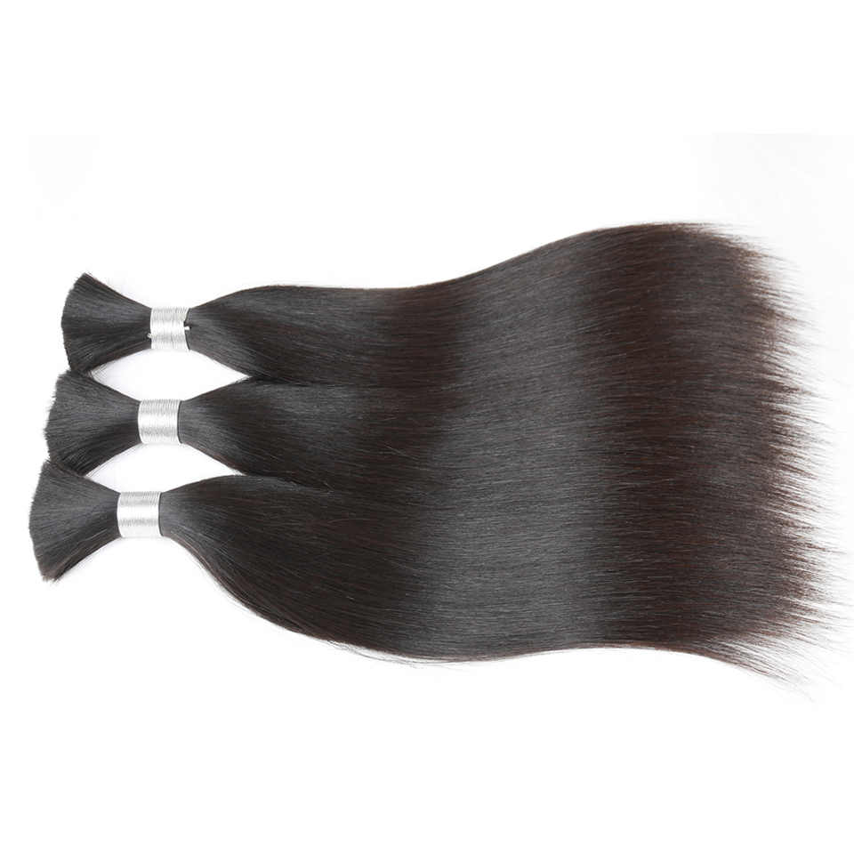 Rebecca Human Braiding Hair Bulk Remy Brazilian Straight Hair 3 Bundles For Braiding For Braiding 10  30 Inch Hair Free Shipping-in Salon Bundle Hair from Hair Extensions & Wigs    2