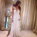 White Chiffon Beads Sweetheart A Line Bridesmaid Dress For Wedding Party Draped Chiffon Dress Custom Made