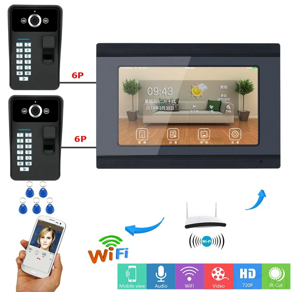 7 Inch Wired Wireless Wifi Fingerprint RFID Password Video Door Phone Doorbell Intercom System With 2 IR-CUT 1000TVL Cameras