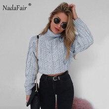 Nadafair winter thick turtleneck warm women sweater jumper autumn long sleeve crop pullovers sweater winter clothes women