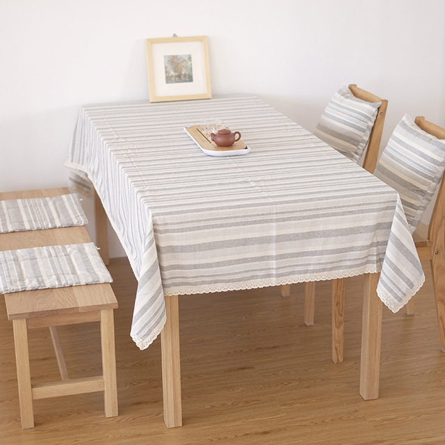 3 Colors Striped Pattern Handmade Tablecloth Cotton Flax Material