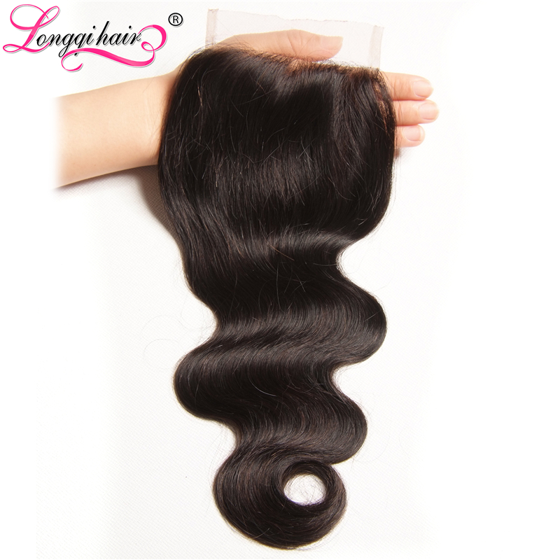 Longqi Brazilian Hair Body Wave 4x4 Lace Closure Remy Human Hair Closure Natural Color 10 20