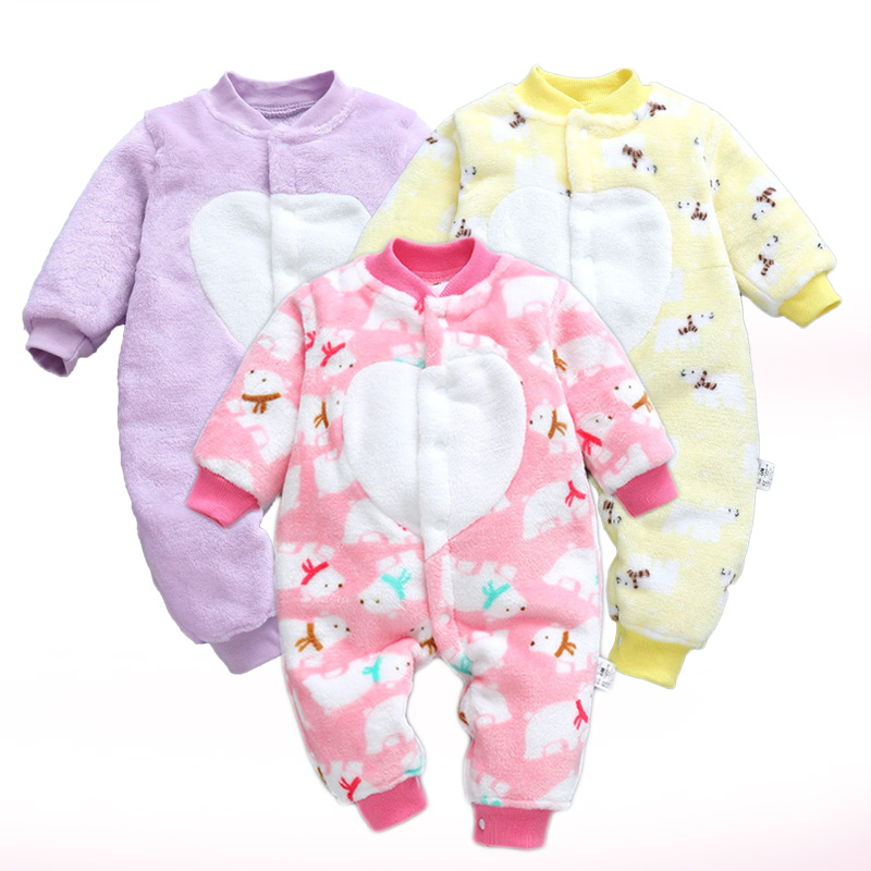 2018 Autumn Warm Baby Rompers Cotton Baby Boys Girls Clothes Cartoon Flannel Overalls for Children Infant Jumpsuit Roupa de bebe