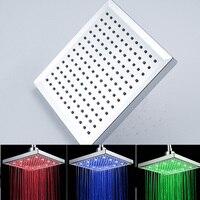 ベストセラー高品質8インチabsプラスチック材料降雨シャワーヘッド付きledライト変