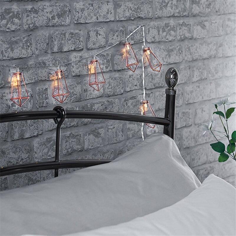 Romantic Wedding Decor 10 20 LEDs String Light Rose Gold Metal Diamond Water Drip Patio Lantern for Party Christmas Tree Decor,5