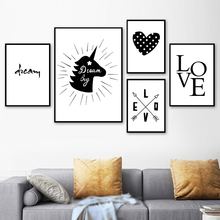 цена Unicorn Love Black White Text Quote Wall Art Canvas Painting Nordic Posters And Prints Wall Pictures For Living Room Home Decor онлайн в 2017 году