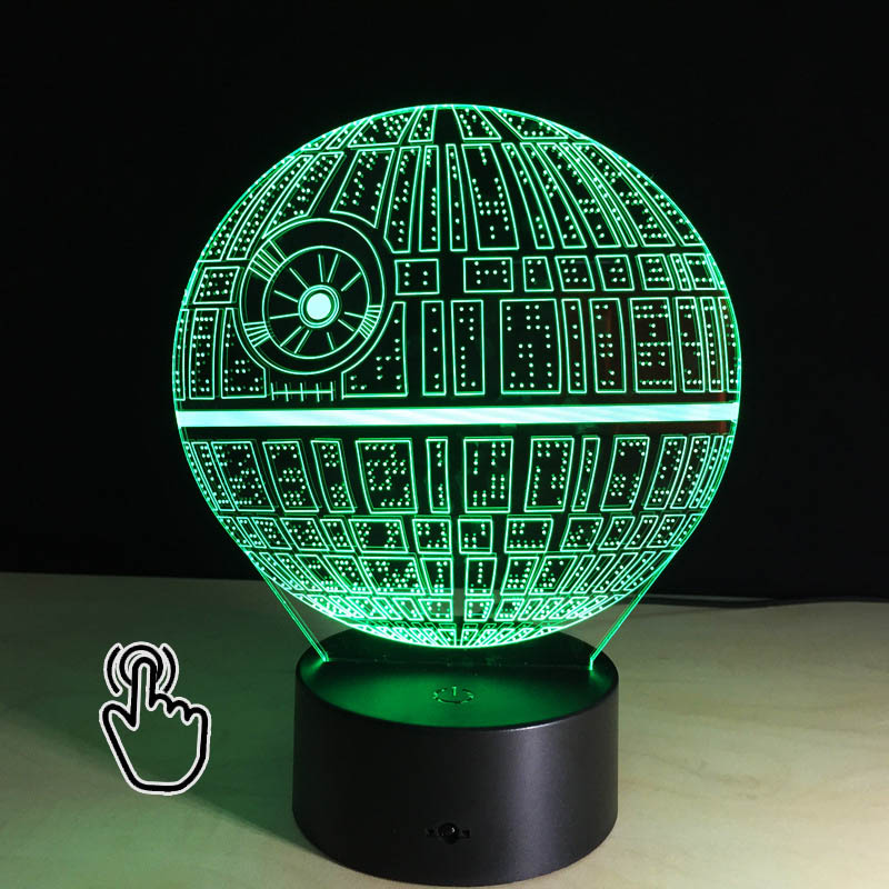 3d Led Star Wars Death Star Colorful Lamp Acrylic