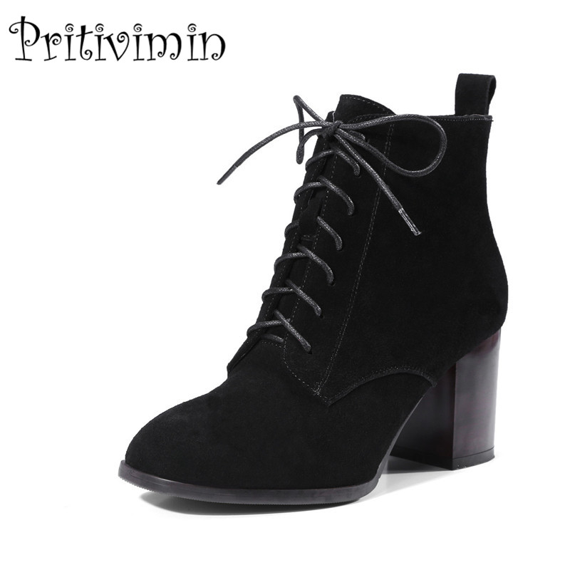2017 New autumn ladies high quality shoes woman black wine genuine leather thick high heel lace up ankle boots Pritivimin FN108 hxrzyz spring autumn new shoes woman ladies leather thick heel fashion style shoes lace up rubber bottom women shoes black pumps