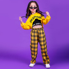 Girls Jazz Hip Hop Costume Hooded Crop Tops Yellow Plaid Pants Sets Modern Street Dance Performance Costume Stage Show Dancewear matthew j smith performance and religion in early modern england stage cathedral wagon street