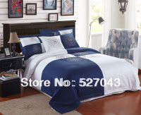 New Fashion Blue and White 6pcs 100 Cotton Hotel Bedding Set Covers set Queen/Full Size,HYHT002,Free Shipping