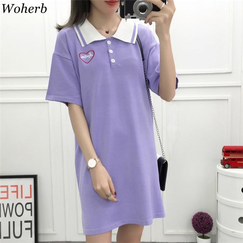 Tops & Tees Woherb Summer Kawaii Long T Shirt Dress Women 2019 Korean Style Heart-shaped Embroidery T-shirt Ulzzang Tee Shirts Femme 21554 With A Long Standing Reputation