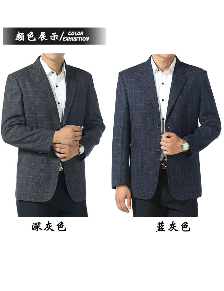WAEOLSA Father  Blazer Blue Gray Plaid Jacket Suit Mature Men Business Casual Blazers Spring Autumn Garment Man Suit Coat (3)