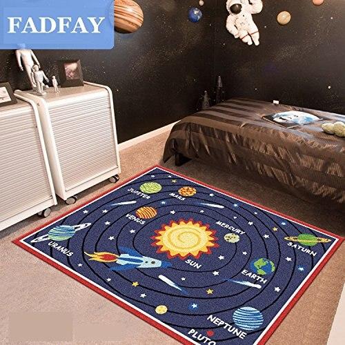 Designer Solar System Living Room Rugs,Unique Stars Kids Bedroom Rug,Modern Cartoon Planet Children Carpet
