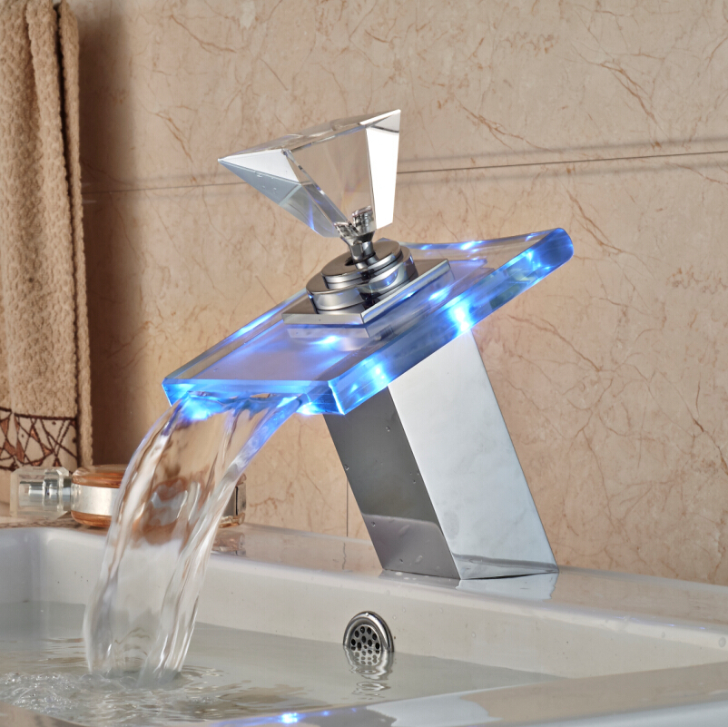 ФОТО Free Shipping LED Light Glass Waterfall Basin vessel Sink Faucet Bathroom Brass Mixer Taps Chrome Finish One Handle