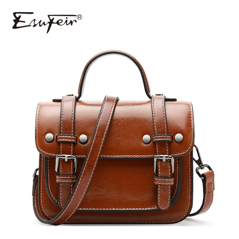 ESUFEIR Cow Leather Satchels Pattern Women Bag Famous Design Brand Bag Women Shoulder Bag Luxury Messenger Bag Bolsa Feminina cow leather shoulder bag brand new 2018 messenger bag women genuine leather bolsa feminina free shipping two shoulder straps