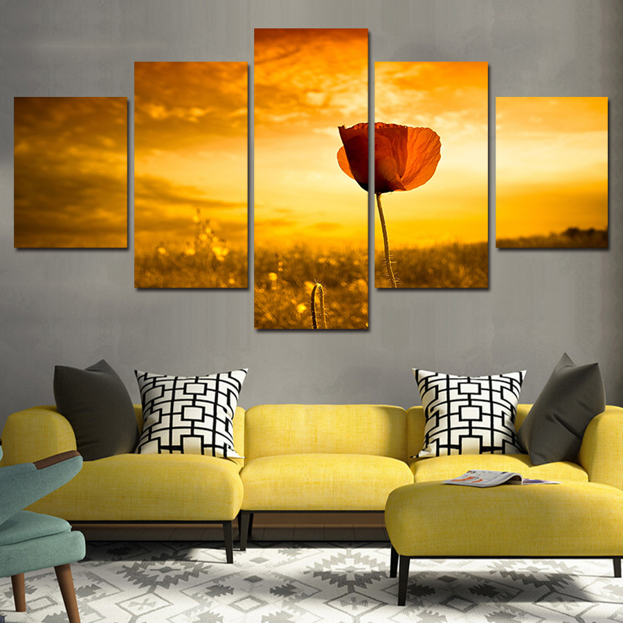 2017 Rose Canvas 5 Pcs Modern Red Flower Scenery Home Decor Wall Art ...