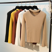 HLBCBG Sweety V-Neck Yellow Ladys Sweater Autumn Flare Sleeve Beading Pullover Female Pull  for Women Jumper Knit Tops