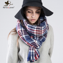 Marte Joven 7 Color Za Design Checked Shawls Women Winter Warm Tartan Scarf and Wrap