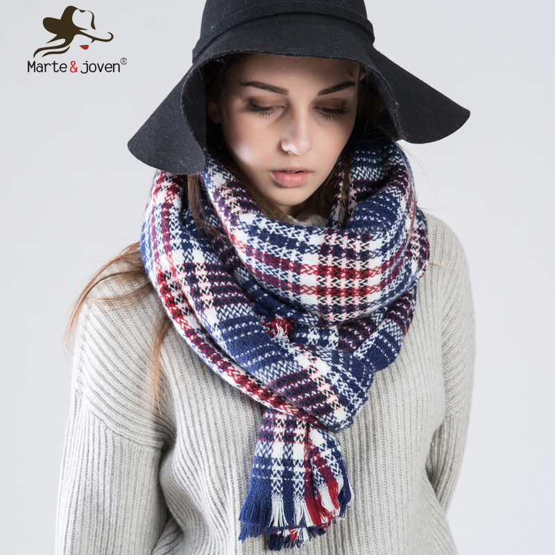 Marte Joven 7 Color Za Design Checked Shawls Women Winter Warm font b Tartan b