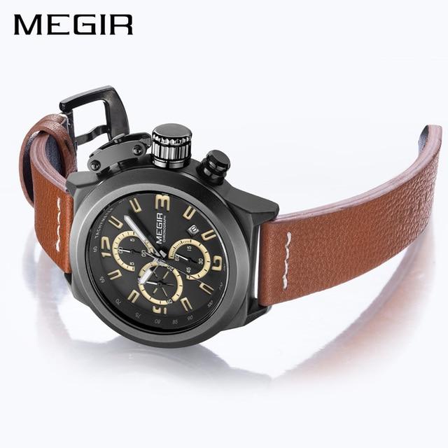 MEGIR Quartz Men Watch Luminous Relogio Masculino Multifunction Wrist Watches Men Clock Chronograph Watches Reloj Hombre 2029