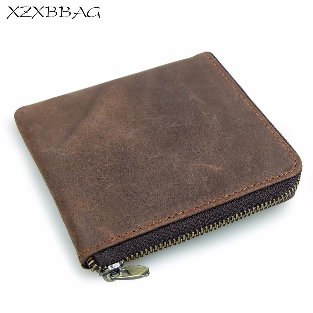 XZXBBAG Men Genuine Cowhide Zipper Coin Purses Male Retro Zero Wallet Change Purse Money Bag Mini Card Bags Small Wallet XB334