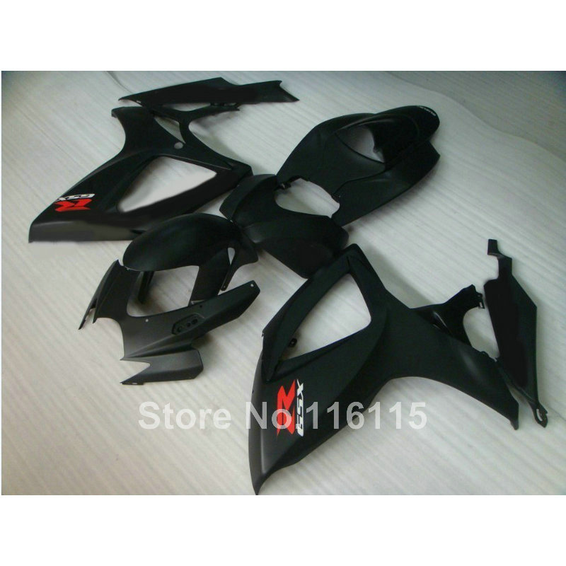 Injection mold  fairing kit for SUZUKI GSXR 600 750 K6 K7 2006 2007 GSXR600 GSXR750 06 07 all matte black fairings set A466 lowest price fairing kit for suzuki gsxr 600 750 k4 2004 2005 blue black fairings set gsxr600 gsxr750 04 05 eg12