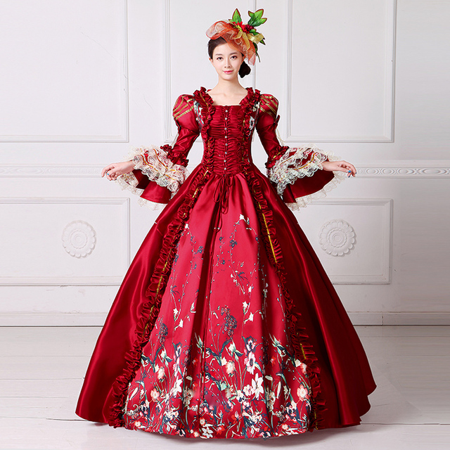 7a02664abec35 18th Century Marie Antoinette Princess Party Dress Square Collar Long Flare  Sleeve Women Rococo Masquerade Ball Gowns Customized