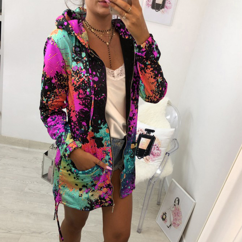 Women Print Bomber Jacket Coat Casual Windbreaker Thin Slim Overcoat Spring Autumn Female Pocket Zipper Hooded Outwear(China)