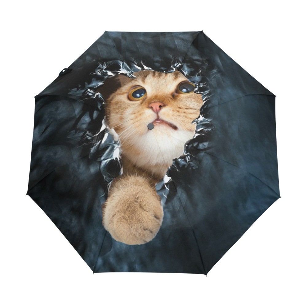 Genuine Brand Folding Umbrella Rain Women Black Quality Automatic Sun Umbrellas Anti UV Cute Cat Pattern Sunscreen Beach Parasol